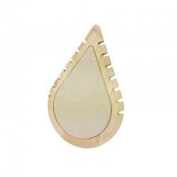 Petit présentoir colliers en bois et coton beige en forme de goutte d'eau - 11006
