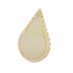 Présentoir colliers en bois et coton beige en forme de goutte d'eau - 11007
