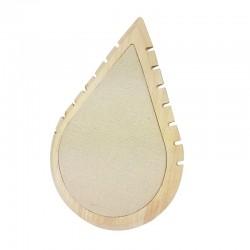 Grand présentoir colliers en bois et coton beige en forme de goutte d'eau - 11008