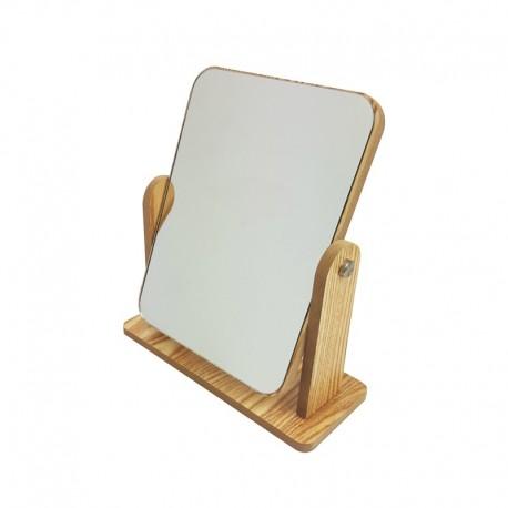 Petit miroir de comptoir aspect bois - 9998