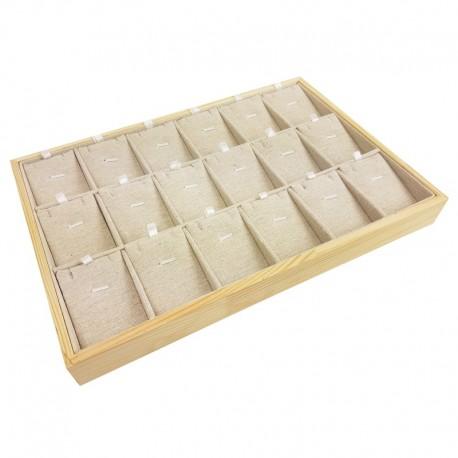 Plateau de présentation en bois et coton beige 18 parures - 11026