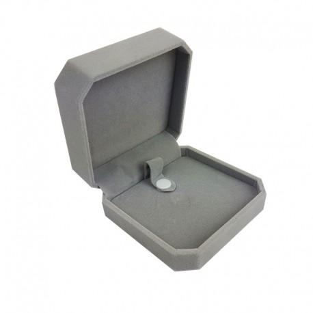 1 écrin en velours gris uni pour bracelet avec bouton pression - 10176