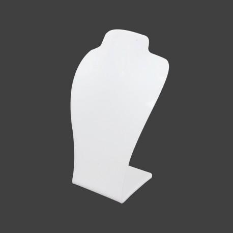 Petit buste parure incurvé en acrylique blanc 16.5cm - 11012