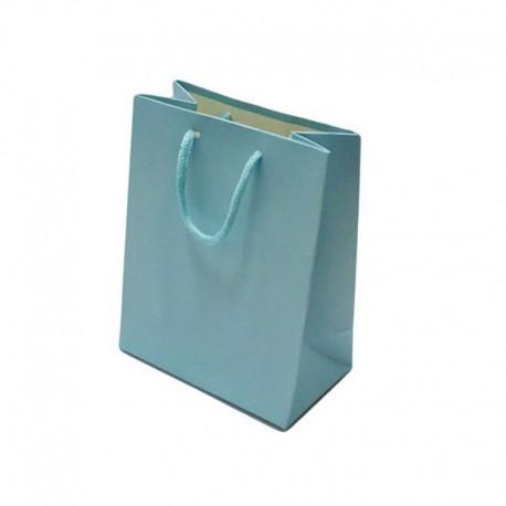 Lot de 12 grands sacs cadeaux bleu ciel 31x12x42cm - 12051