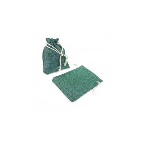 10 grandes bourses en toile de jute couleur vert lagon 20x30cm - 13064