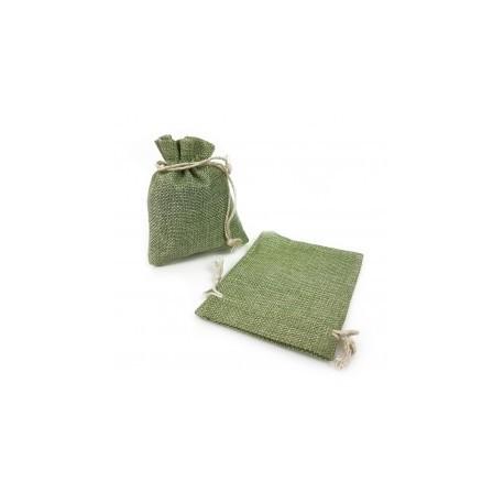 10 grandes bourses en toile de jute couleur vert amande 20x30cm - 13069