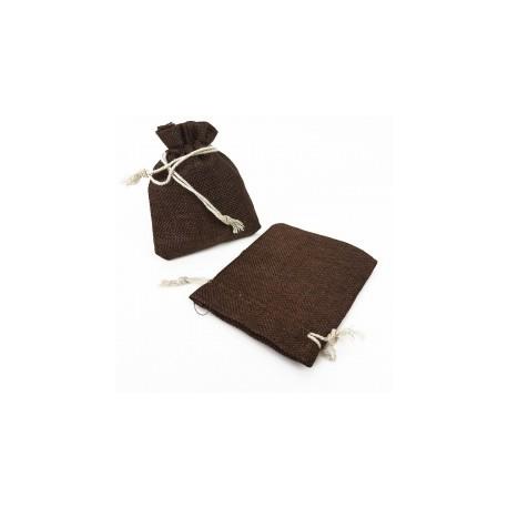 10 grandes bourses en toile de jute couleur marron chocolat 20x30cm - 13074