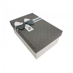 Boîte cadeaux bicolore écrue et gris foncé 18x11x6.5cm - 11035p