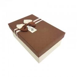 Boîte cadeaux bicolore écrue et gris foncé 18x11x6.5cm - 11038p