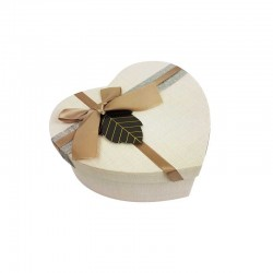 Petite boîte cadeaux en forme de coeur couleur lin 13x15x6cm - 11032p