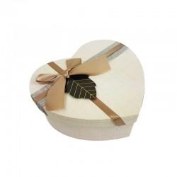 Boîte cadeaux en forme de coeur couleur lin 15x18x7.5cm - 11033m