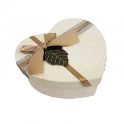Grande boîte cadeaux en forme de coeur couleur lin 18x21x9cm - 11034g