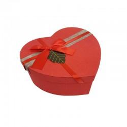Petite boîte cadeaux en forme de coeur rouge avec étiquette 13x15x6cm - 11029p