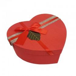 Grande boîte cadeaux en forme de coeur rouge avec étiquette 18x21x9cm - 11031g