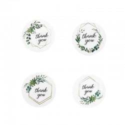 """Rouleau de 500 étiquettes cadeaux sur fond blanc """"Thank You"""" 4 modèles - 11050"""