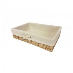Petit panier en raphia tressé et en coton beige naturel 25x15x6cm - 11056