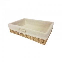 Panier en raphia tressé et en coton beige naturel 30x20x7cm - 11057