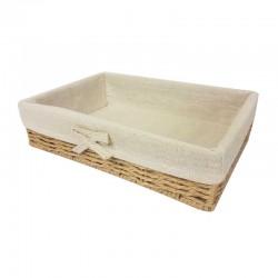 Grande corbeille en raphia tressé et en coton beige naturel 40x30x9cm - 11059