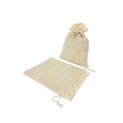 10 petites bourses en coton couleur écru finition en crochet 6.5x9cm - 7205