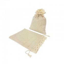 10 bourses en coton couleur écru finition crochet 10x11.5cm - 7206