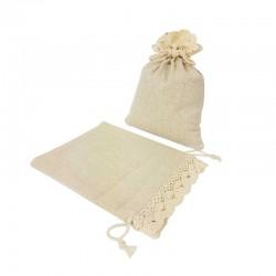Lot de 10 bourses en coton couleur écru finition crochet 11.5x15cm - 7207