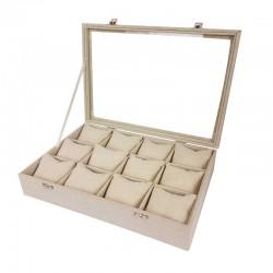 Mallette à coussins pour 12 bracelets ou montres en coton beige naturel - 11065