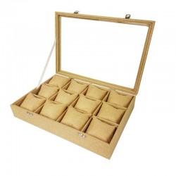 Mallette à coussins pour 12 bracelets ou montres en toile de jute beige - 11066