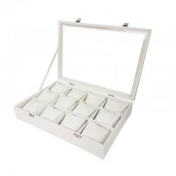 Mallette à coussins pour 12 bracelets ou montres en simili cuir blanc - 11067