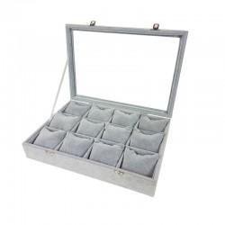 Mallette à coussins pour 12 bracelets ou montres en velours gris - 11069
