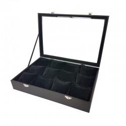 Mallette à coussins pour 12 bracelets ou montres en velours noir - 11070