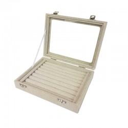 Petite mallette vitrée pour bagues en coton beige naturel - 11071