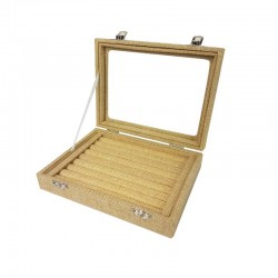 Petite mallette vitrée pour bagues en toile de jute beige - 11073