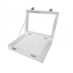 Petite mallette vitrée pour bagues en simili cuir blanc - 11072