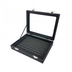 Petite mallette vitrée pour bagues en simili cuir noir - 11075