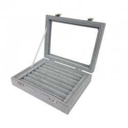 Petite mallette vitrée pour bagues en velours gris - 11076