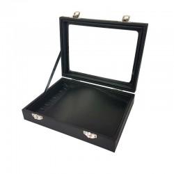Petite mallette vitrée pour bracelets en simili cuir noir - 11082
