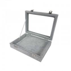 Petite mallette vitrée pour bracelets en velours gris - 11081