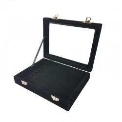 Petite mallette vitrée pour bracelets en velours noir - 11080