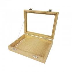 Petite mallette vitrée pour bracelets en toile de jute beige - 11079