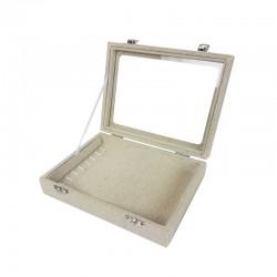 Petite mallette vitrée pour bracelets en coton beige naturel - 11077