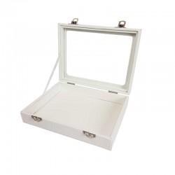 Petite mallette vitrée en simili cuir blanc - 11084