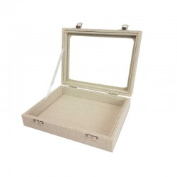 Petite mallette vitrée en coton beige naturel - 11083