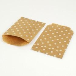 100 pochettes en papier kraft brun naturel motifs pois blancs - 8180