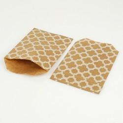 100 sachets cadeaux en papier kraft brun naturel motif carreaux de ciment blancs - 8183