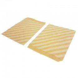100 sachets cadeaux en papier kraft brun naturel motif raures blanches - 8182