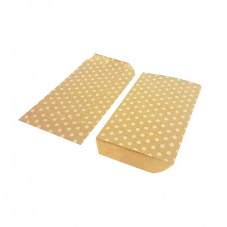 100 pochettes en papier kraft brun motif de pois blancs 8x14cm - 8172