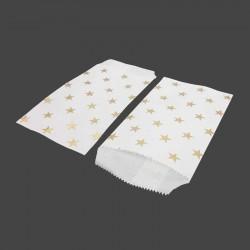 50 pochettes en papier kraft blanc motif d'étoiles dorées 8x14cm - 8173