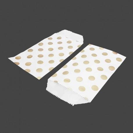 50 pochettes en papier kraft blanc motif de pois dorés 8x14cm - 8174