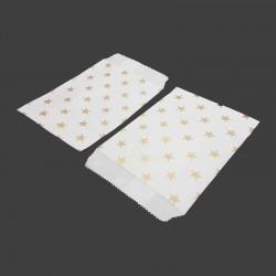50 pochettes en papier kraft blanc motifs étoiles dorées - 8178