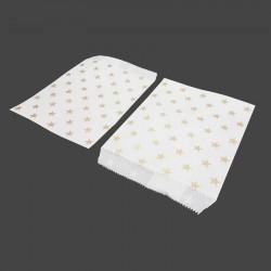 100 sachets cadeaux en papier kraft motifs étoiles dorées sur fond blanc - 8184